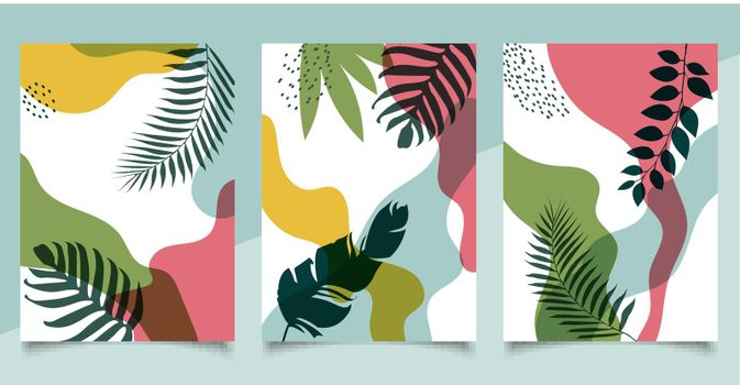 Set of cover brochure template organic shape natural tropical leaves on white background