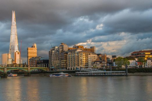 London - The bridges and the skyscraper Shard at morning dusk.