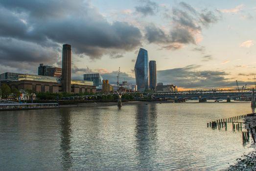 Tate Modern, Millennium Bridge and River Thames in London, United Kingdom