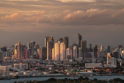 Bangkok, Thailand - 27 Aug, 2019 : Beautiful view of Bangkok city, Beauty skyscrapers along Chaopraya river in the evening, making the city modern style. Copy area.