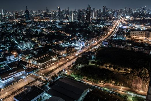 Bangkok, thailand - Oct 18, 2019 : Bangkok cityscape. Bangkok downtown at night view in the business district, Beautiful twilight give the city a modern style.