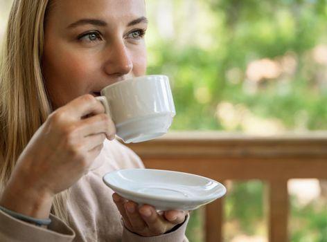 Drinking Tea on Terrace