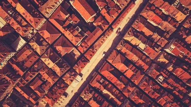 Roof Background. View from Above on Dubrovnik. Balkan Style Streets. Drone View on a Historical City in Croatia.