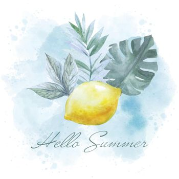 Watercolor summer banner with lemon