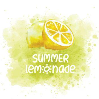 fresh watercolor summer banner with lemon