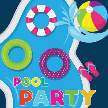 joyfull summer banner. Pool party