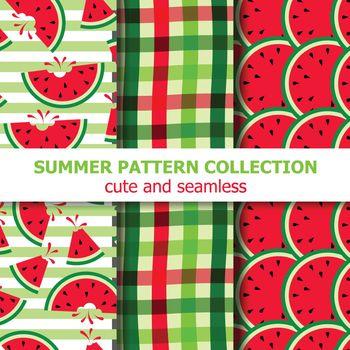 summer pattern collection. Watermelon theme. Summer banner. Vector