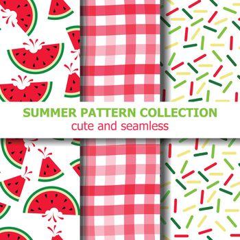 Joyfull summer pattern collection. Watermelon theme. Summer banner. Vector