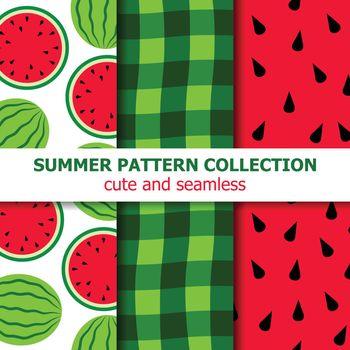 Cute summer pattern collection. Watermelon theme. Summer banner. Vector