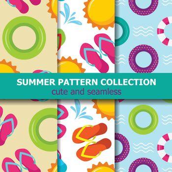Joyfull summer pattern collection. Beach theme. Summer banner
