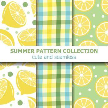 Fresh summer pattern collection. Lemon theme. Summer banner. Vector