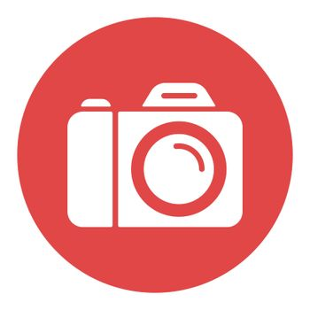 Camera vector white glyph icon. Camping and Hiking sign