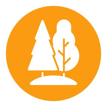 Deciduous and conifer forest vector flat white glyph icon