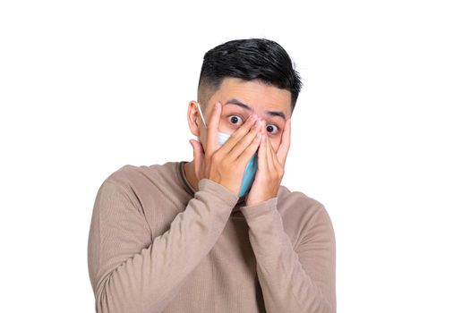 scared  young man in medical mask and afraid of coronavirus infection