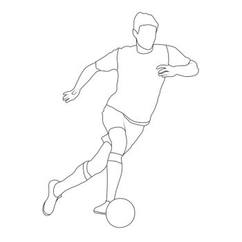 Football. Contoured silhouette of a football player. An athlete plays football. Flat Style