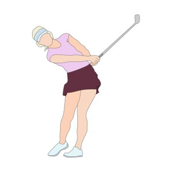 Golf. Colored silhouette of a woman playing golf. Color sports silhouette. Flat Style