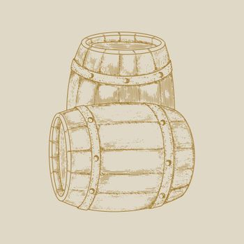 Vintage barrels in the style of engraving