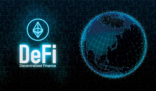 DeFi (Decentralized Finance) concept banner illustration