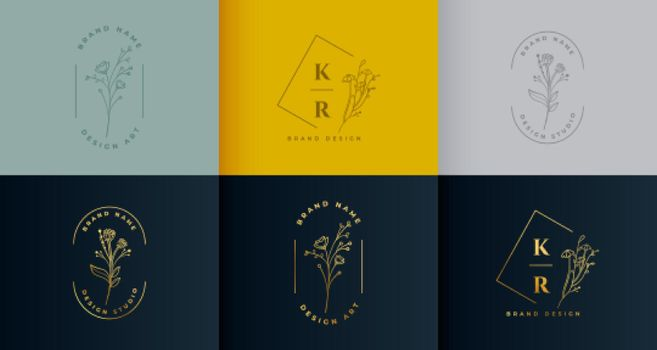 beautiful floral logotype collection set