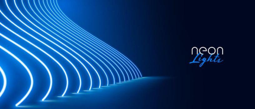 blue neon light effect floor pathway banner