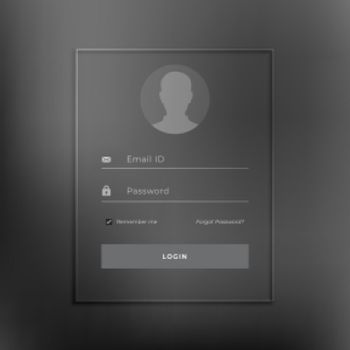 Black login page template in minimal style