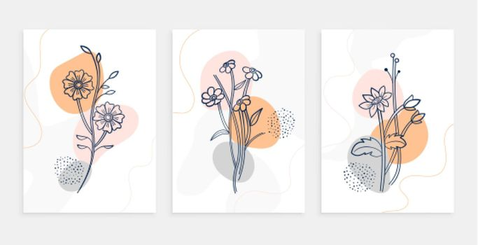 botanic flower line art poster template set