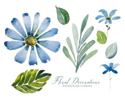 blue watercolor flower floral decoration pack