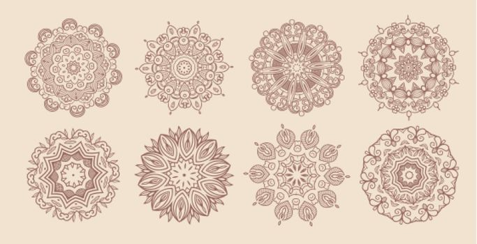 circular vintage mandala classic set of eight
