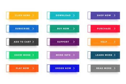 flat colorful buttons for different uses