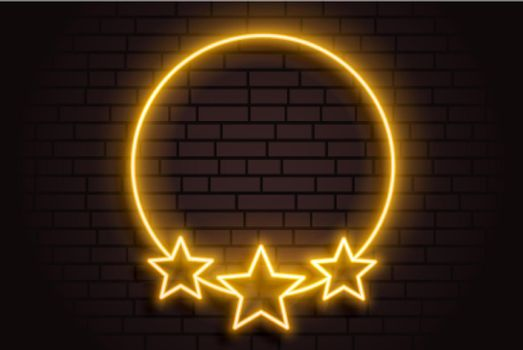 golden neon circle frame with stars background