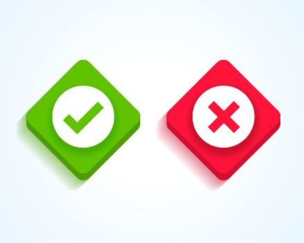 green check mark and red cross buttons