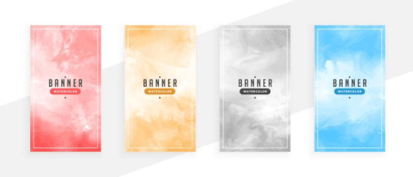 hand painted watercolor abstract banners