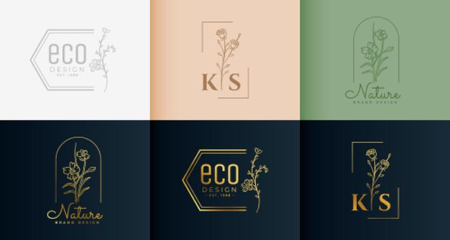 minimal logotype collection in floral style