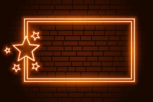 orange neon rectangluar frame with stars