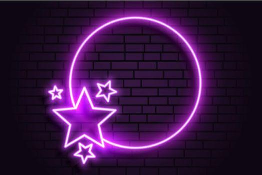 purple neon romantic circular frame with stars