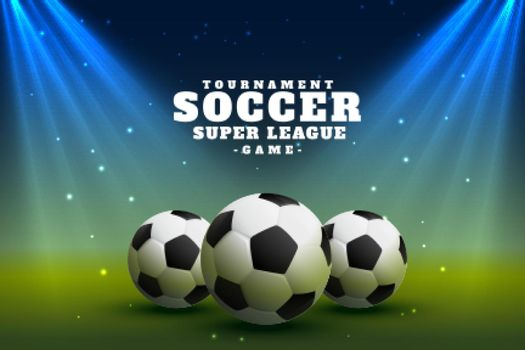 realistic soccer football league background with spot focus lights