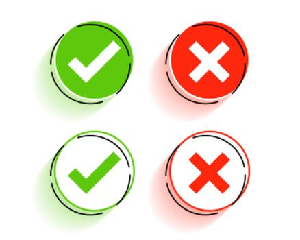 round check mark and cross symbols buttons
