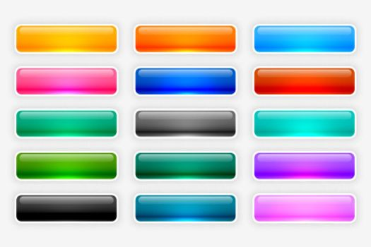 shiny glossy web buttons collection