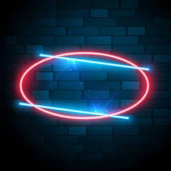 shiny glowing oval neon frame with text effect