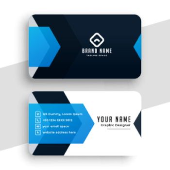 stylish blue personal business card template
