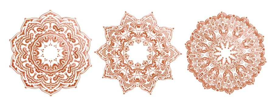 Three detailed mandala ethnic set