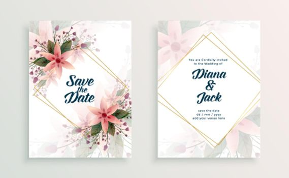 wedding card invitation design template with flowers