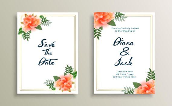 wedding card invitation design with flower decoration