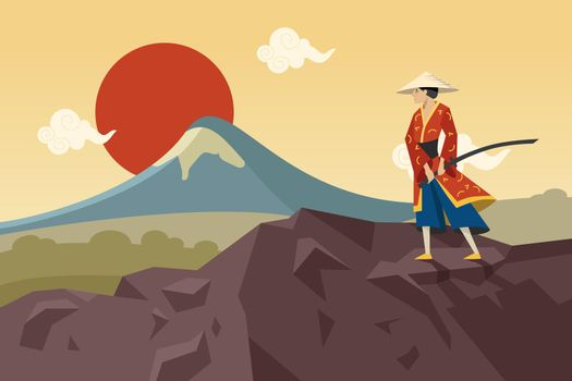 Asian warrior with sword walking in mountains and admiring Sun