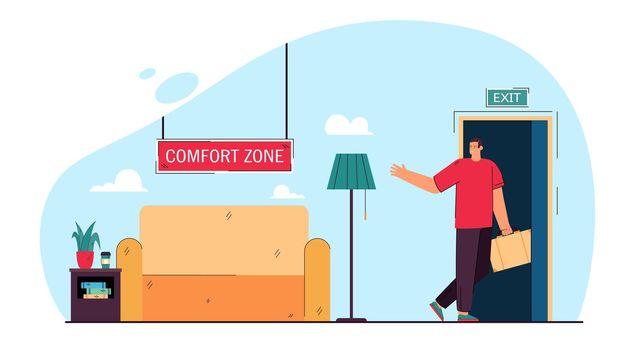 Businessman leaving comfort zone flat vector illustration