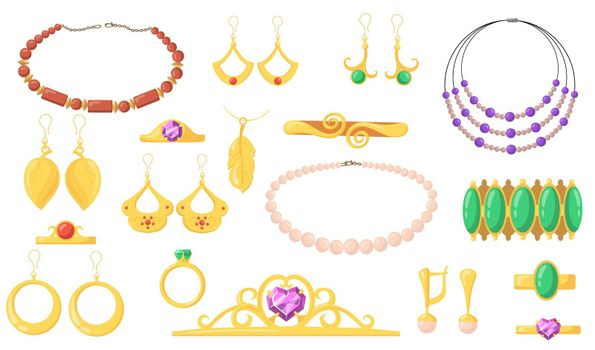 Bright creative jewelry flat pictures collection