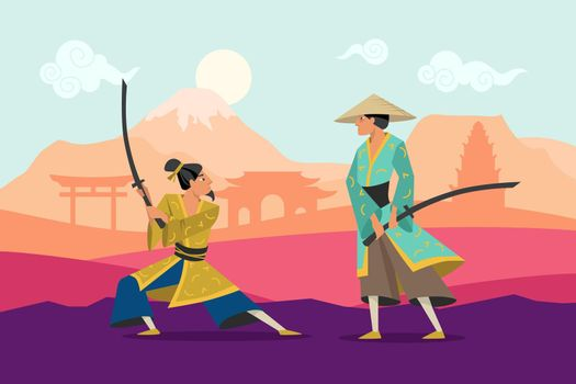 Cartoon battle of two eastern warriors in kimono