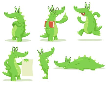Cartoon crocodile character vector illustrations set