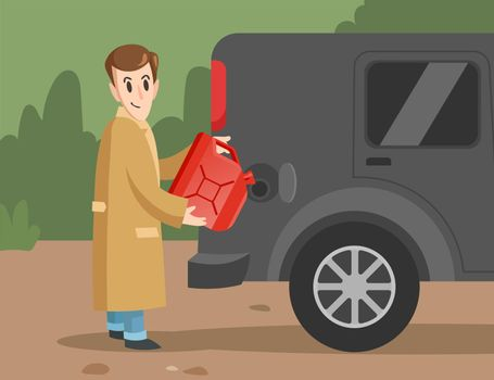 Cartoon male character pouring gasoline into car