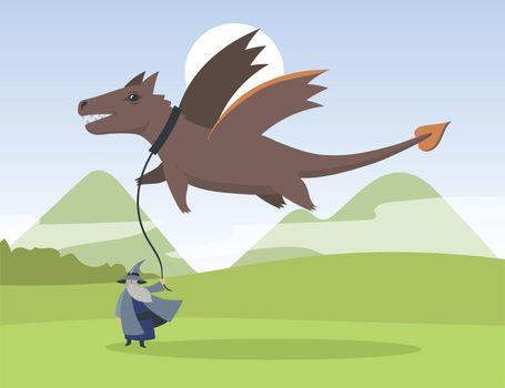 Cartoon old elf and flying dragon flat vector illustration